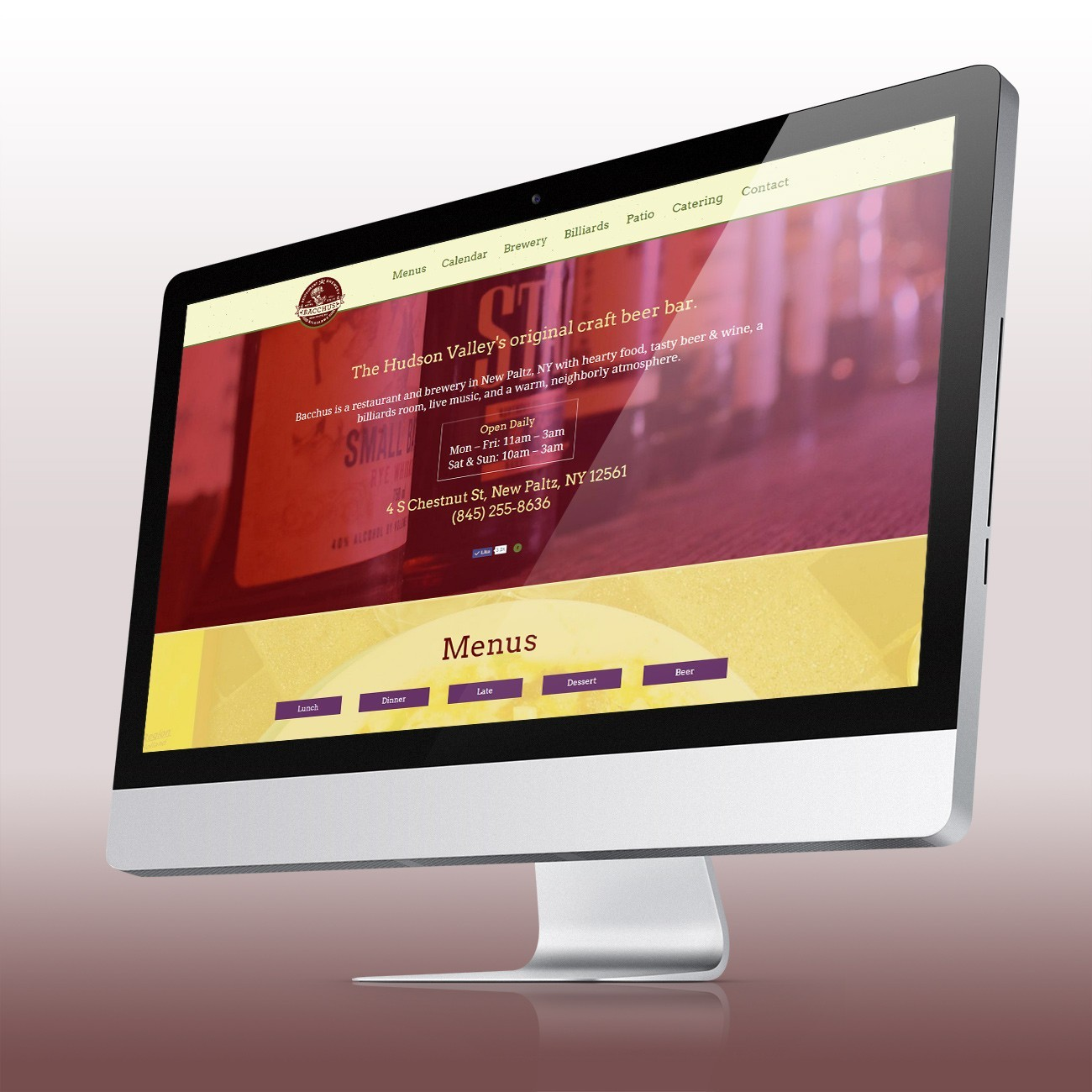 Bacchus Website, designed by Query Creative in the Hudson Valley