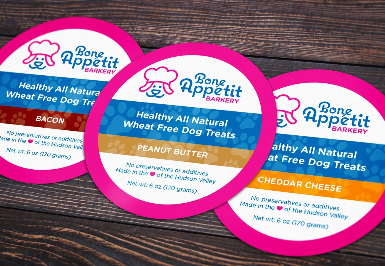 Bone Appétit Barkery Stickers, designed by Query Creative in the Hudson Valley