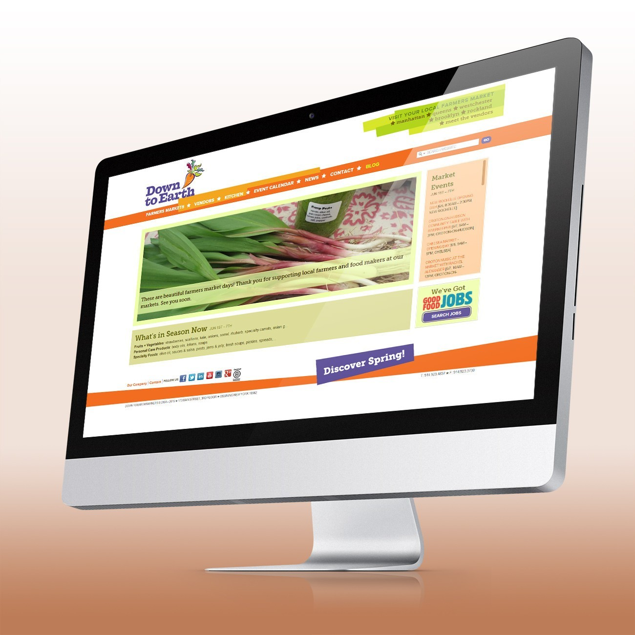 Down to Earth Markets Website, designed by Query Creative in the Hudson Valley