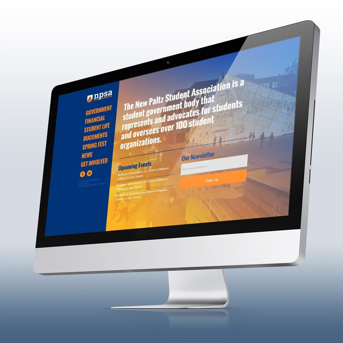 New Paltz Student Association Website, designed by Query Creative in the Hudson Valley