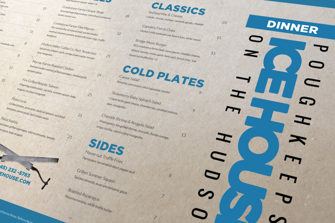 Poughkeepsie Ice House Menu, designed by Query Creative in the Hudson Valley