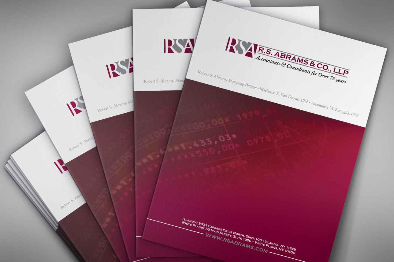 RS Abrams Folder, designed by Query Creative in the Hudson Valley