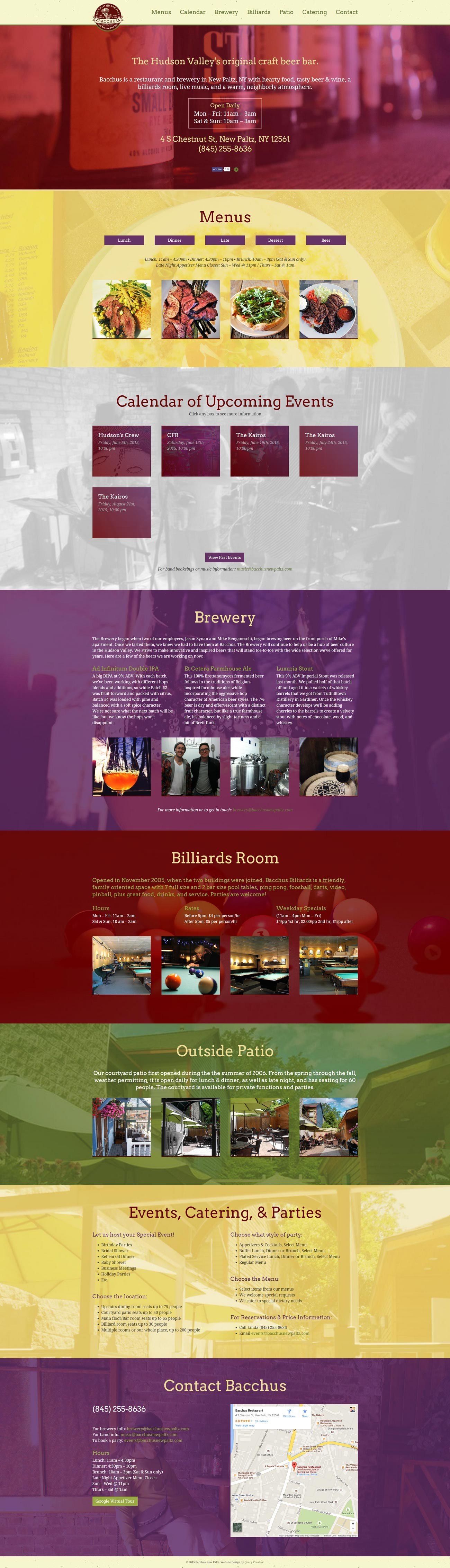 Bacchus Website Full, designed by Query Creative in the Hudson Valley