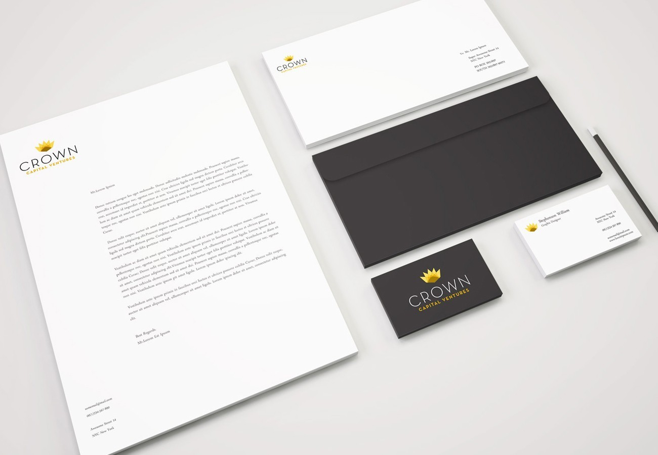 Crown Capital Ventures Stationary, designed by Query Creative in the Hudson Valley