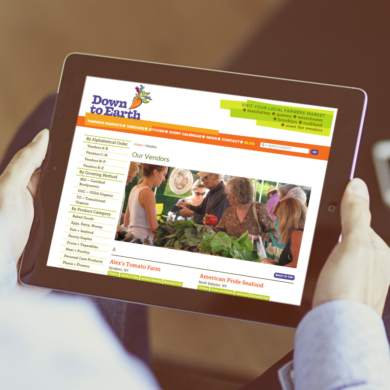 Down to Earth Markets Tablet, designed by Query Creative in the Hudson Valley