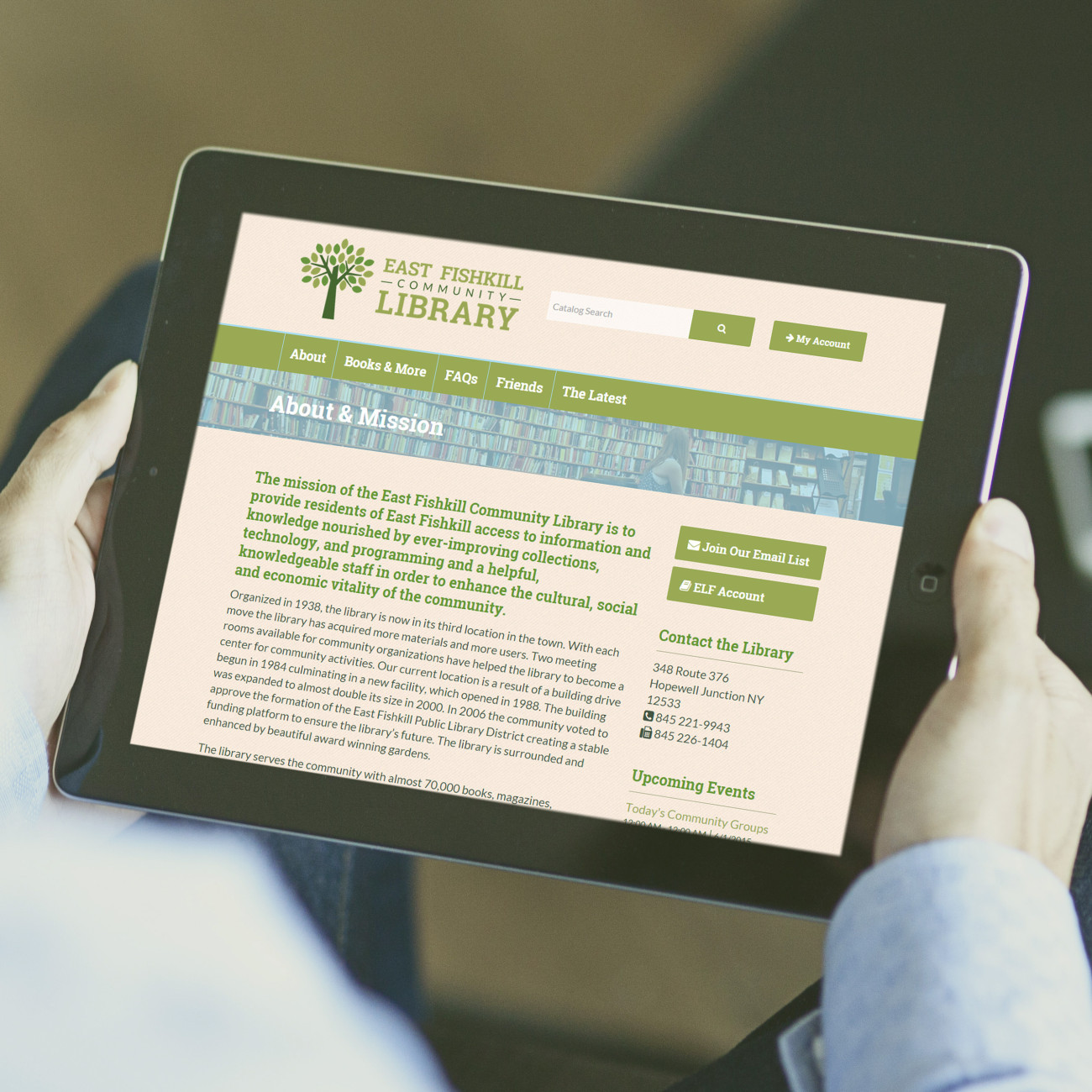 East Fishkill Library Tablet, designed by Query Creative in the Hudson Valley