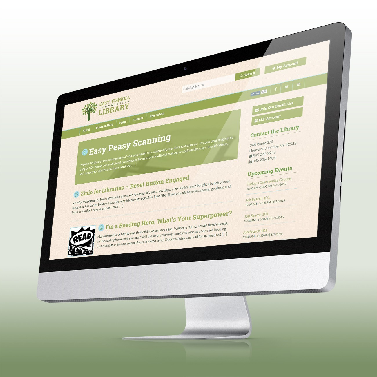 East Fishkill Library Website, designed by Query Creative in the Hudson Valley