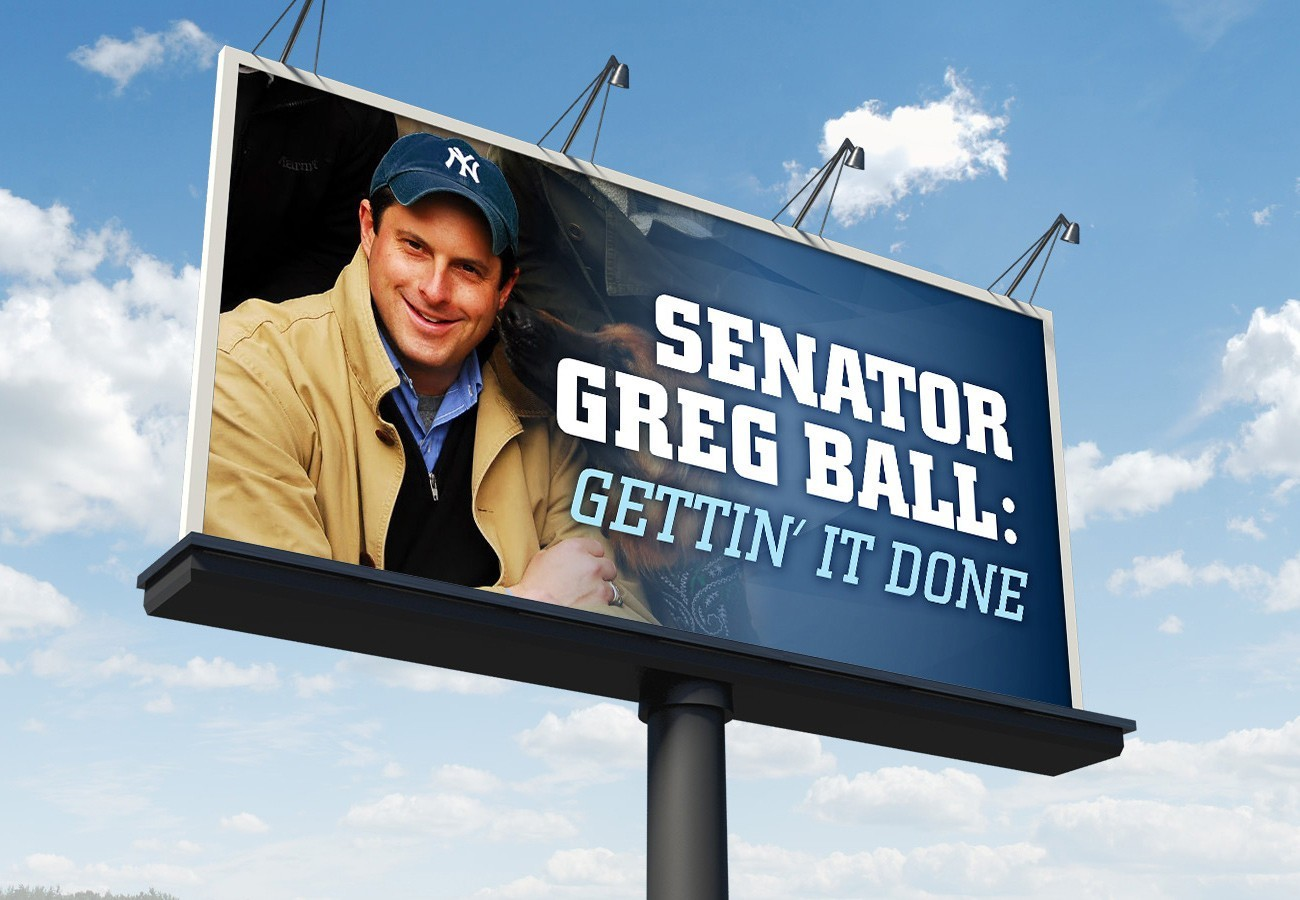 Greg Ball for NY Billboard, designed by Query Creative in the Hudson Valley