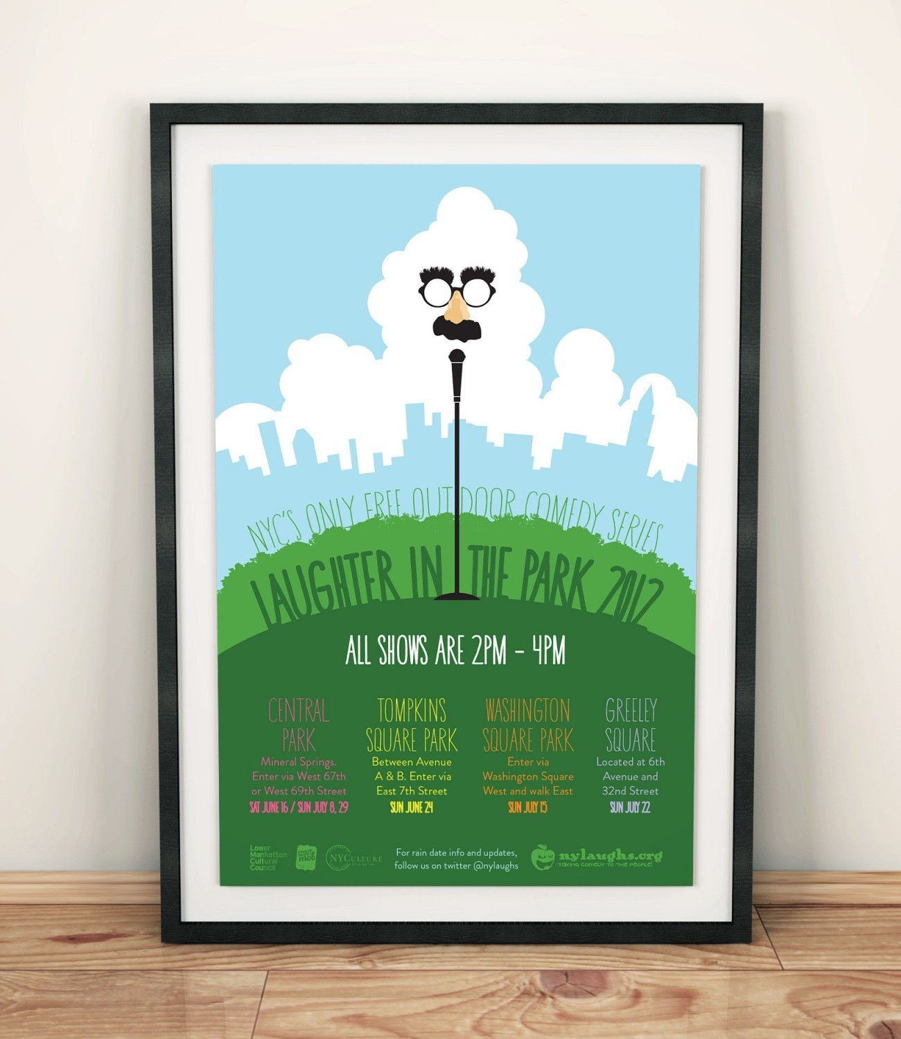 Laughter in the Park Poster 2012, designed by Query Creative in the Hudson Valley