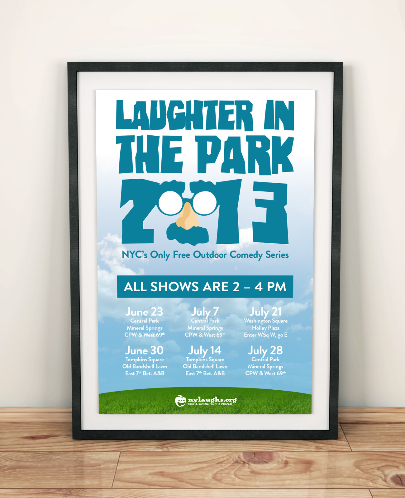 Laughter in the Park Poster 2013, designed by Query Creative in the Hudson Valley