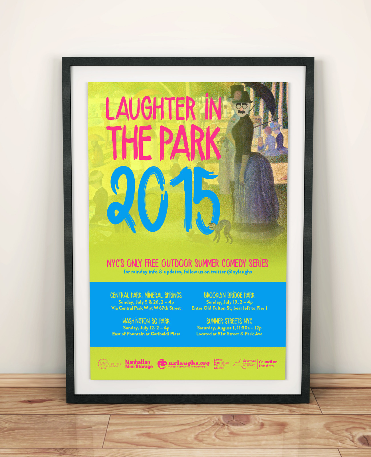 Laughter in the Park Poster 2015, designed by Query Creative in the Hudson Valley