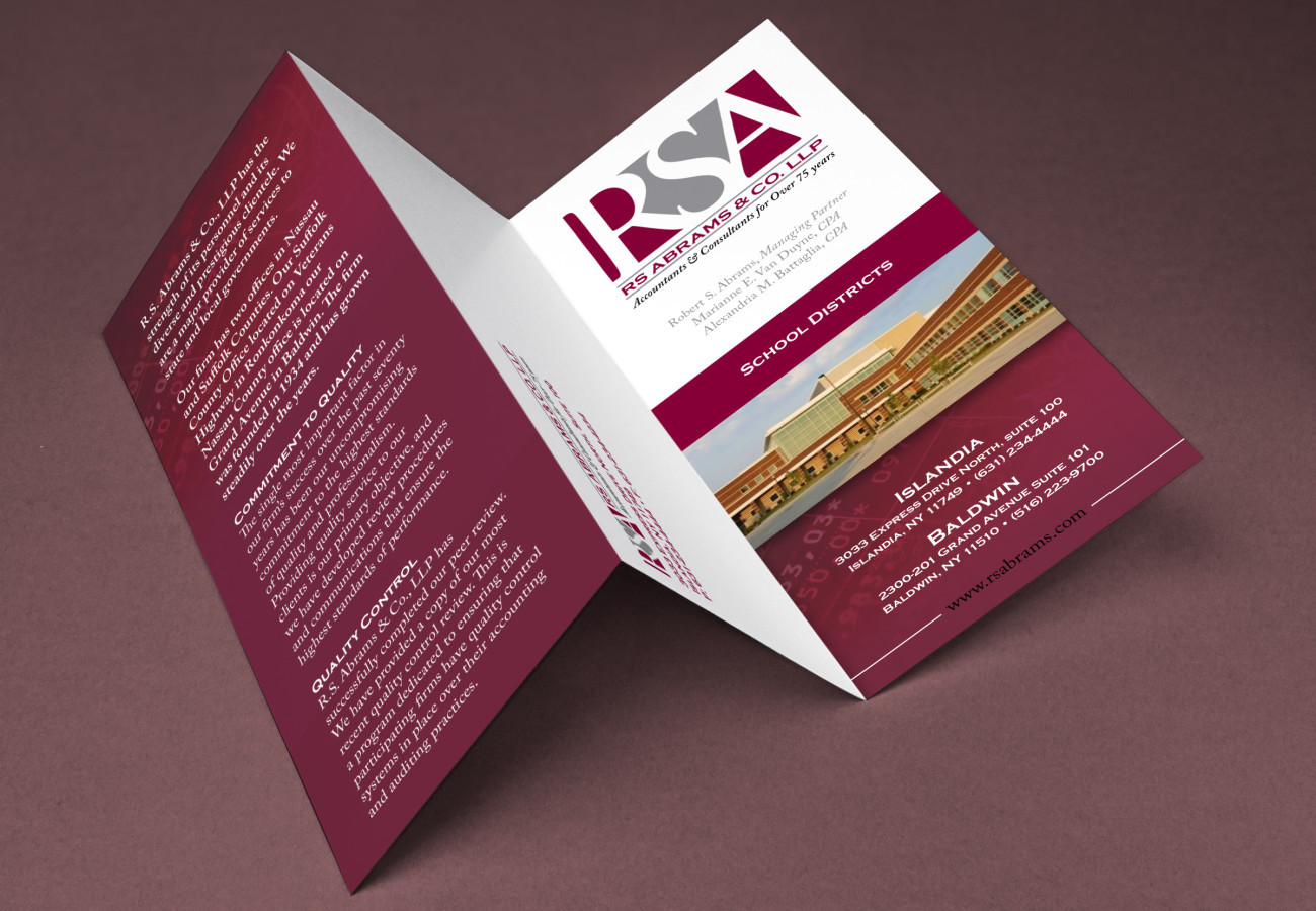 RS Abrams Brochure, designed by Query Creative in the Hudson Valley