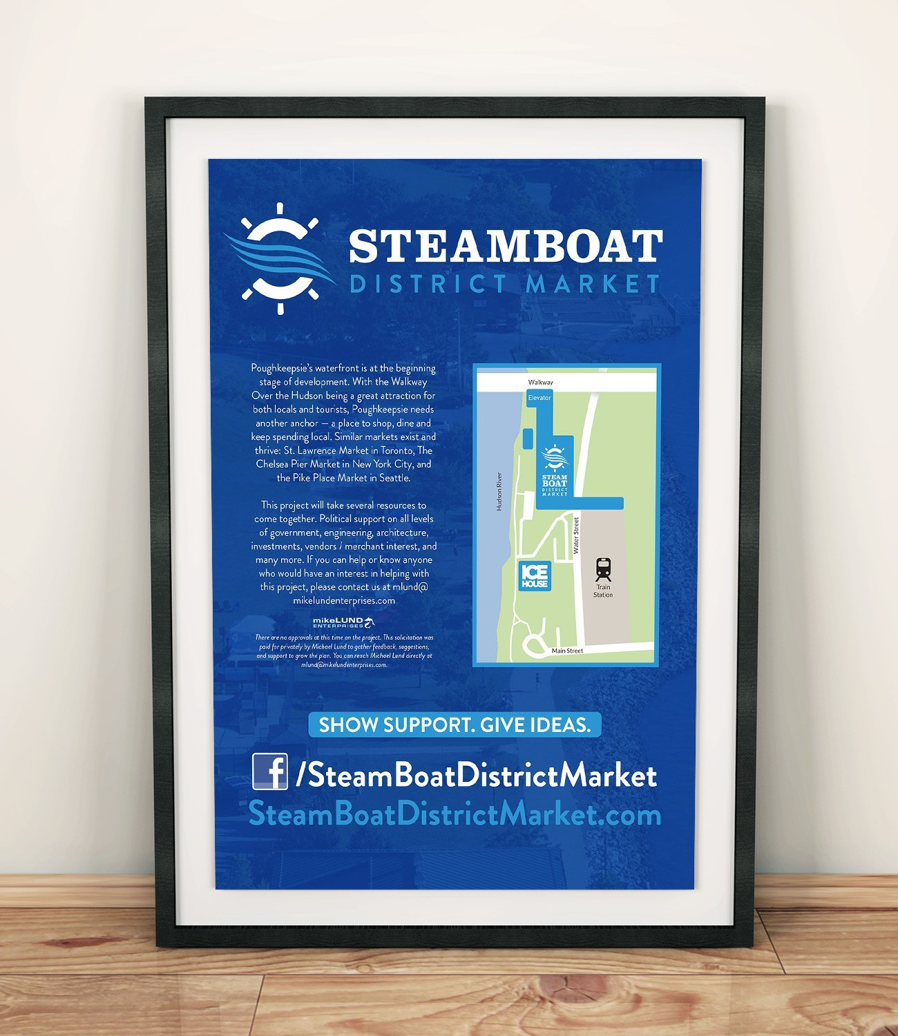 Steamboat District Market Poster, designed by Query Creative in the Hudson Valley
