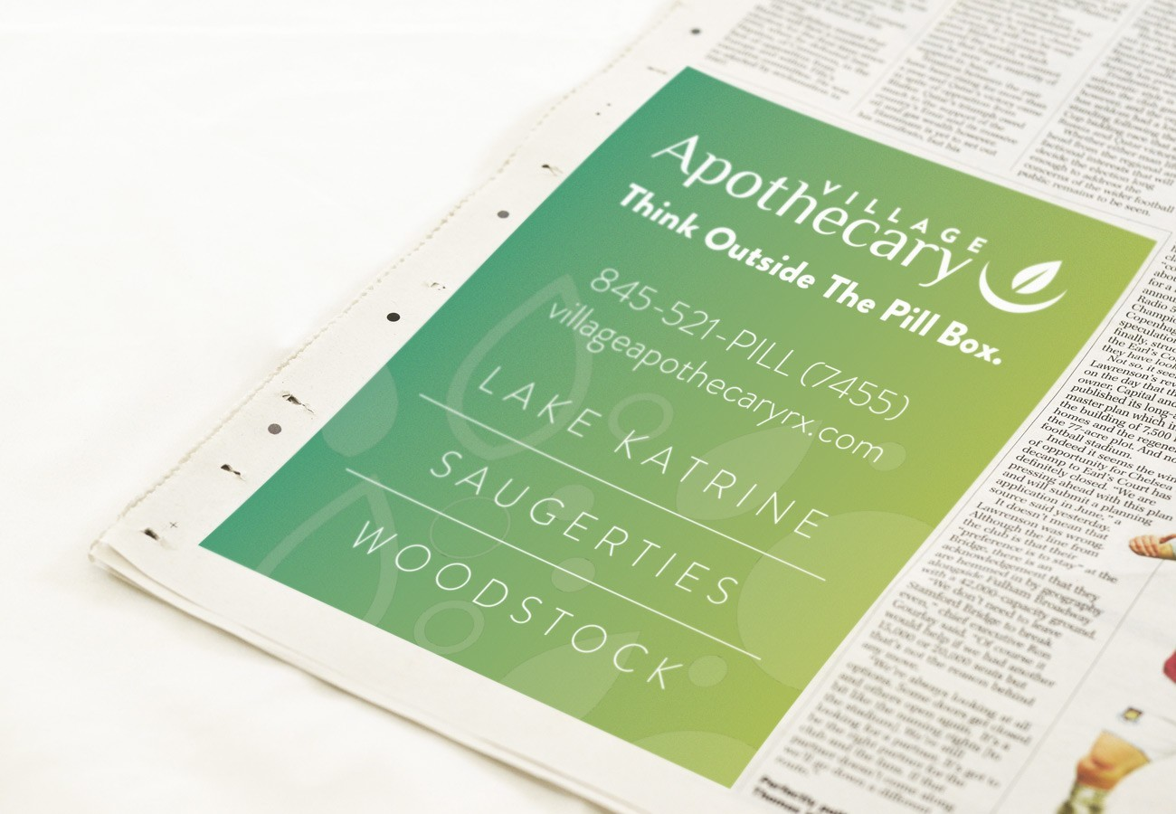 Village Apothecary Ad, designed by Query Creative in the Hudson Valley